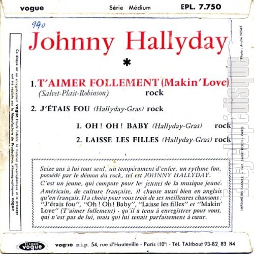 T'aimer follement (Makin' love) - Johnny HALLYDAY (verso)
