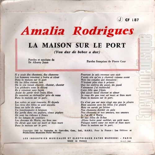 Encyclop disque disque la maison sur le port - Amalia rodrigues la maison sur le port ...