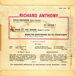 [Pochette de Fille sauvage (Richard ANTHONY) - verso]