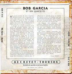 [Pochette de Too marvelous for words (Bob GARCIA Quartet) - verso]