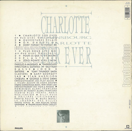 [Pochette de Charlotte for ever (Charlotte GAINSBOURG) - verso]