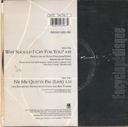 "[Pochette de Sting - "" Why should I cry for you ? - Ne me quitte pas "" (Les FRANCOPHILES) - verso]"