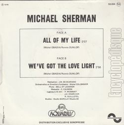 [Pochette de All of my life (Michaël SHERMAN) - verso]