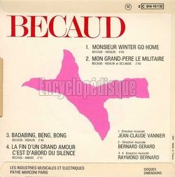 [Pochette de Monsieur winter go home (Gilbert BÉCAUD) - verso]