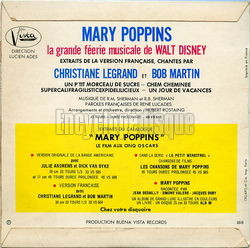 [Pochette de Mary Poppins (version française) (B.O.F. « Films ») - verso]