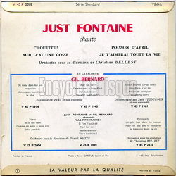 [Pochette de Just Fontaine chante Gil Bernard (Just FONTAINE) - verso]