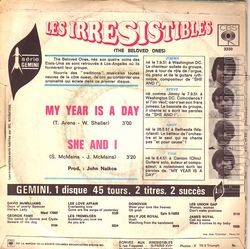 [Pochette de My year is day (Les IRRESISTIBLES) - verso]