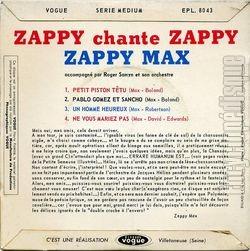 [Pochette de Zappy chante Zappy (ZAPPY MAX) - verso]