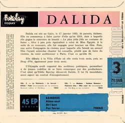 [Pochette de Dalida chante Bambino - N°3 (DALIDA) - verso]