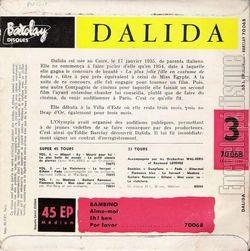 [Pochette de Mademoiselle Bambino - N°3 (DALIDA) - verso]