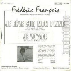 [Pochette de Je rêve sur mon piano (Frédéric FRANÇOIS) - verso]