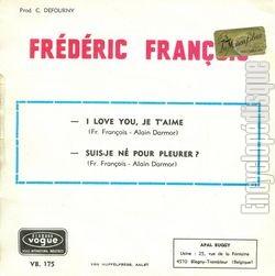 [Pochette de I love you, je t'aime (Frédéric FRANÇOIS) - verso]