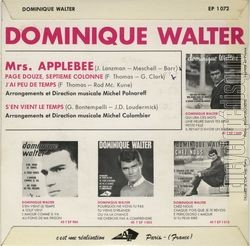 [Pochette de Mrs. Applebee (Dominique WALTER) - verso]