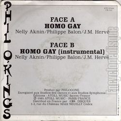[Pochette de Homo gay (Phil O'KINGS) - verso]