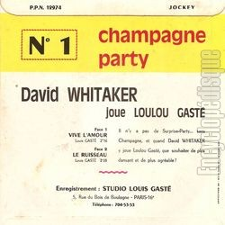[Pochette de Champagne party (David Whitaker joue Loulou Gasté) (David WHITAKER) - verso]