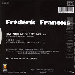 [Pochette de Une nuit ne suffit pas (Frédéric FRANÇOIS) - verso]