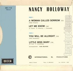 [Pochette de A woman called sorrow (Nancy HOLLOWAY) - verso]