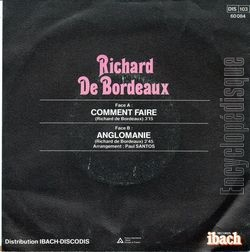 [Pochette de Comment faire (Richard DE BORDEAUX) - verso]