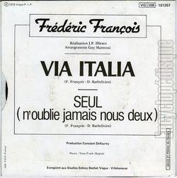 [Pochette de Via Italia (Frédéric FRANÇOIS) - verso]