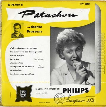 Encyclopdisque disque patachou chante brassens - Les amoureux des bancs publics paroles ...