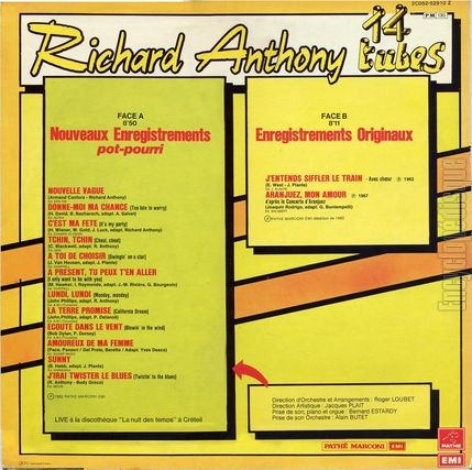[Pochette de 14 tubes (Richard ANTHONY) - verso]