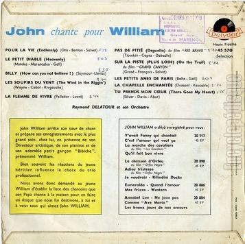 [Pochette de John chante pour William (John WILLIAM) - verso]