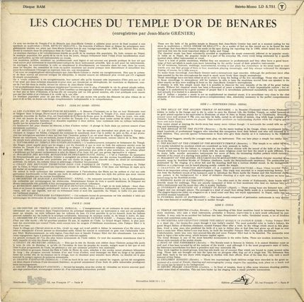 [Pochette de Les cloches du temple d'or de Benares (DOCUMENT) - verso]