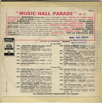 [Pochette de Music-Hall parade n° 3 (MUSIC-HALL PARADE) - verso]